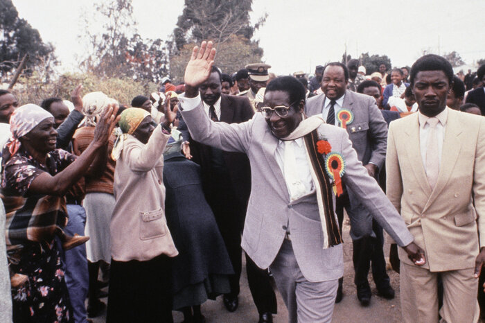 Zimbabwe Prime Minister Robert Mugabe an election rally near Harare, 1985. His Zanu Party won a landslide victory in the country's first election since independence.