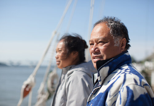 Kalepa Baybayan (right) and his daughter Kala Tanaka. Kalepa is training Kala as an apprentice navigator.