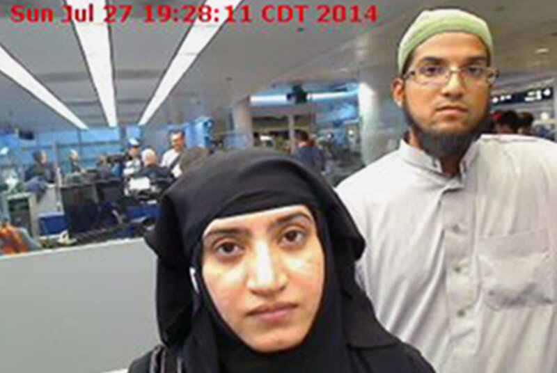 Tashfeen Malik (left) pledged allegiance to the Islamic State on Facebook just before she and her husband, Syed Farook, went on a shooting spree that left 14 dead in San Bernardino, Calif., last December. The couple is shown here in a 2014 photo. In just over a year, three separate attackers have declared support for ISIS as they carried out shootings in the U.S.