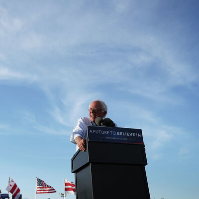 Democratic presidential candidate Bernie Sanders speaks during a rally in Washington, D.C., on June 9. Although he didn't win the nomination, Sanders' grass-roots fundraising has broken records.