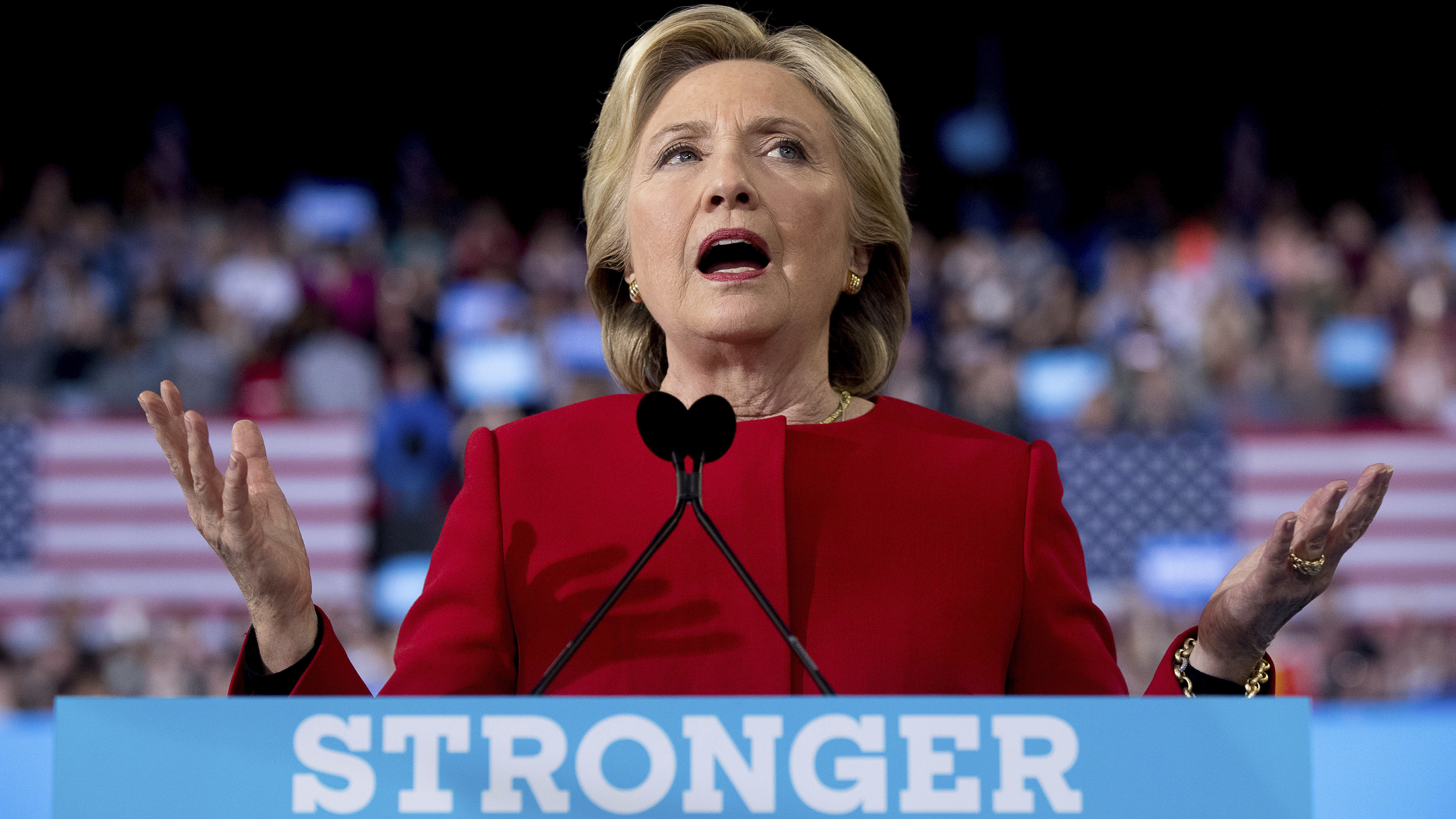 Democratic presidential candidate Hillary Clinton speaks during a campaign rally in Raleigh, N.C., on Nov. 8, 2016.
