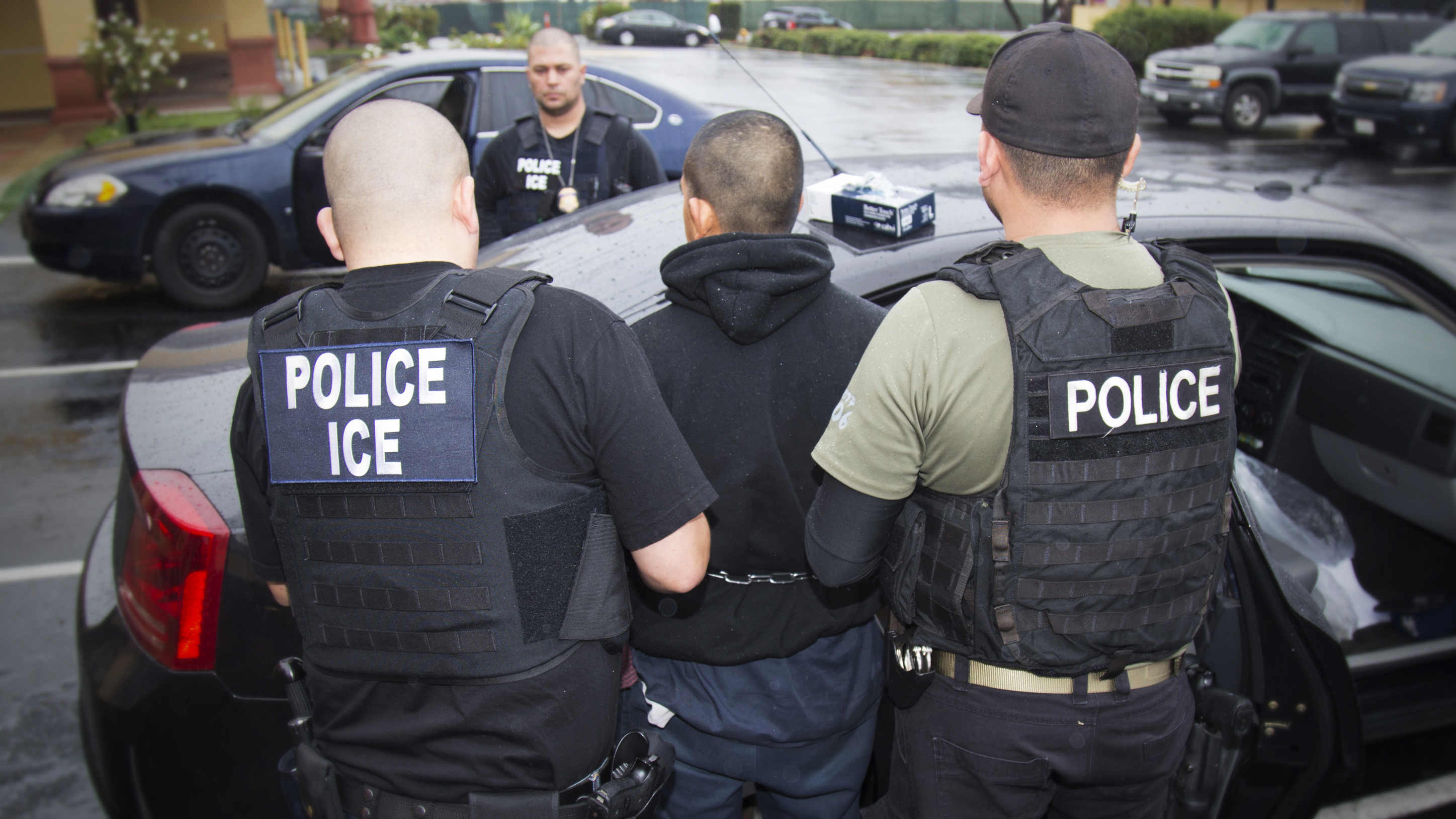 ICE agents conducting an enforcement operation in Los Angeles in February.
