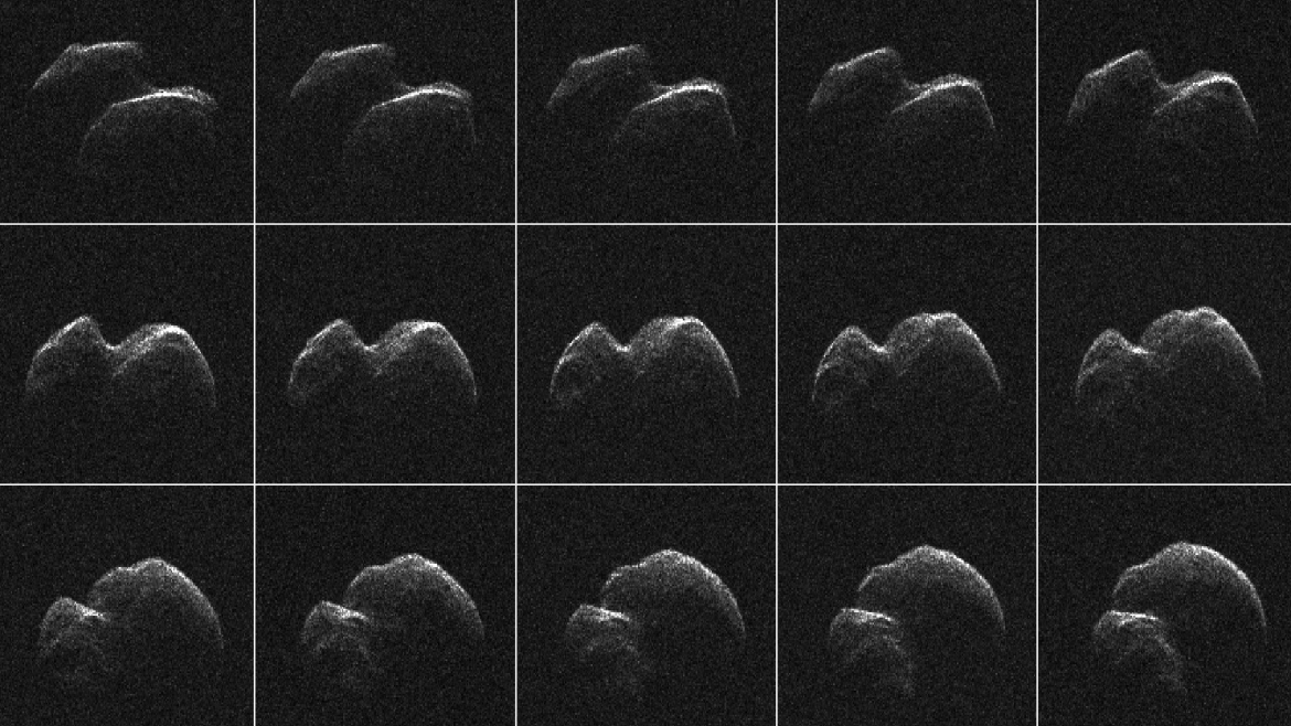 This composite of 30 images of asteroid 2014 JO25 was generated with radar data collected using NASA