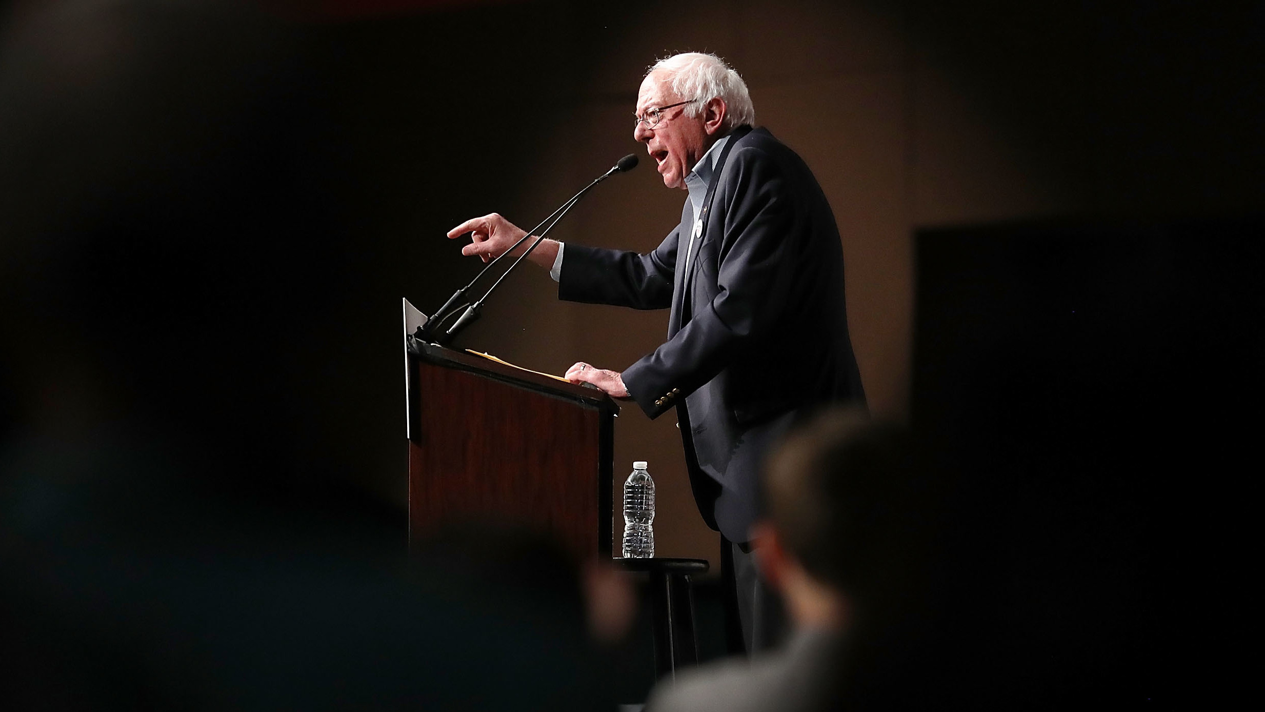 Sen. Bernie Sanders speaks during an event at the the James L. Knight Center on Thursday in Miami as part of a Democratic unity tour. Sanders is getting heat for campaigning with Omaha, Neb., mayoral candidate Heath Mello, who has supported abortion restrictions.