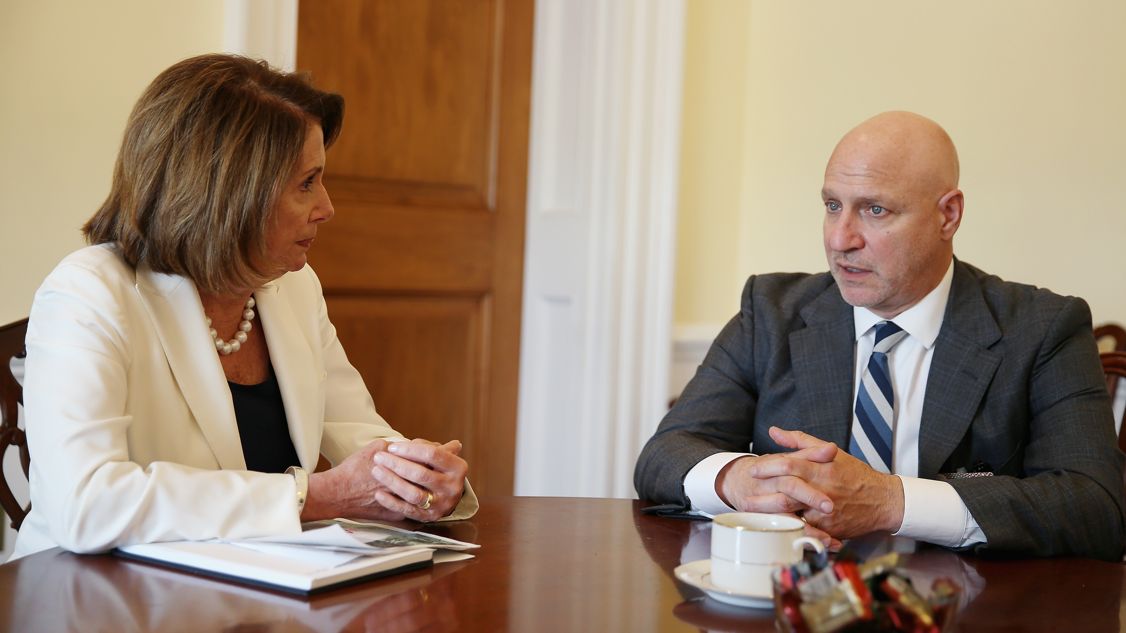 House of Representatives minority leader Nancy Pelosi and celebrity chef Tom Colicchio discuss the farm bill as part of the Plate of the Union campaign, April 27, 2017, in Washington, D.C.