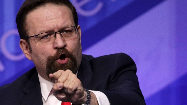 Outgoing National Security Council adviser Sebastian Gorka participates in a discussion during the Conservative Political Action Conference in February.