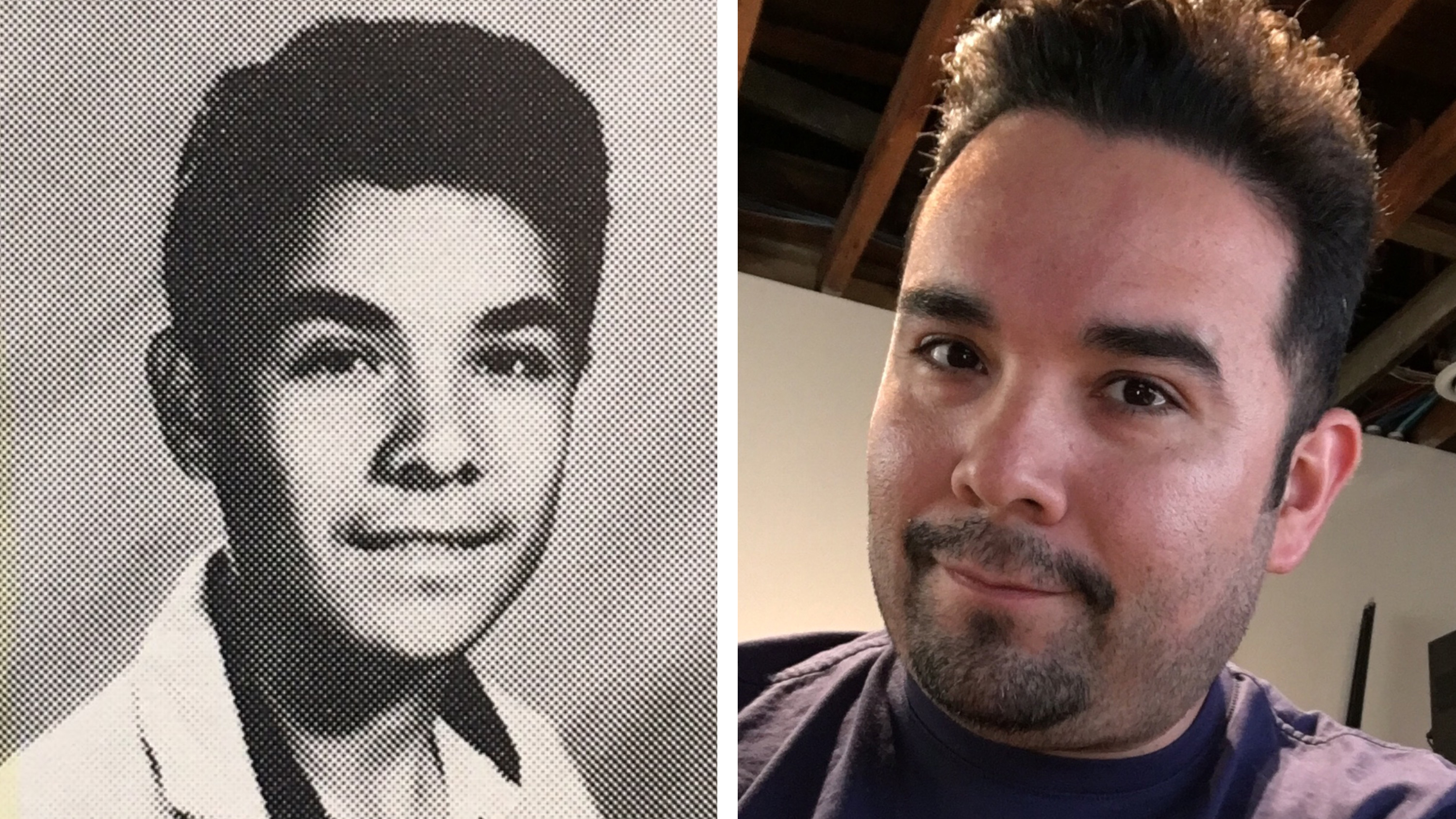 Gilbert Monterrosa was 15 years old (left, from his high school yearbook in 1992) during the Los Angeles Riots. He and some friends decided to loot a Fedco department store where he found something unexpected — Nirvana