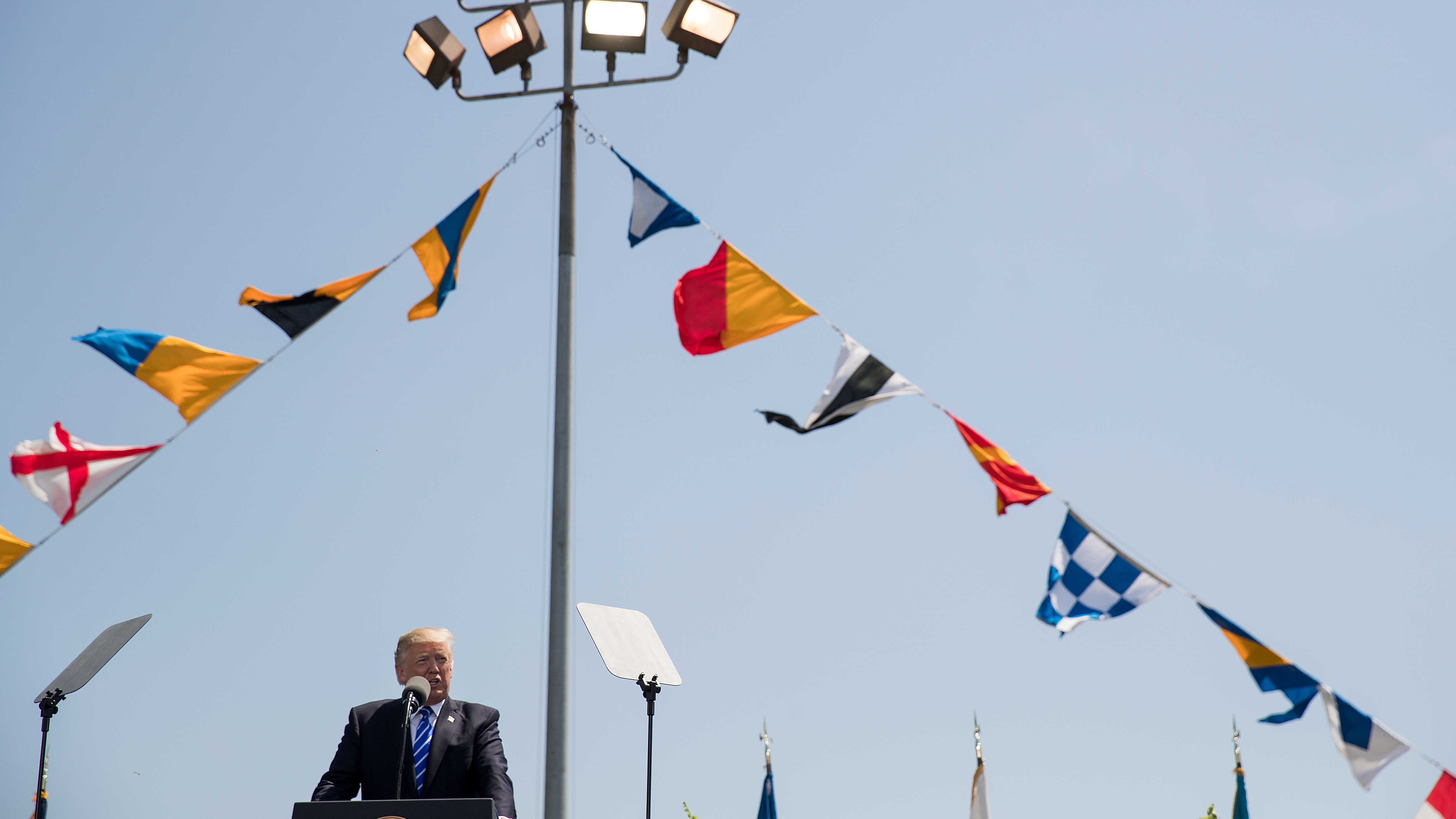 President Donald Trump delivered the commencement address at the U.S. Coast Guard Academy in New London, Conn. This is President Trump