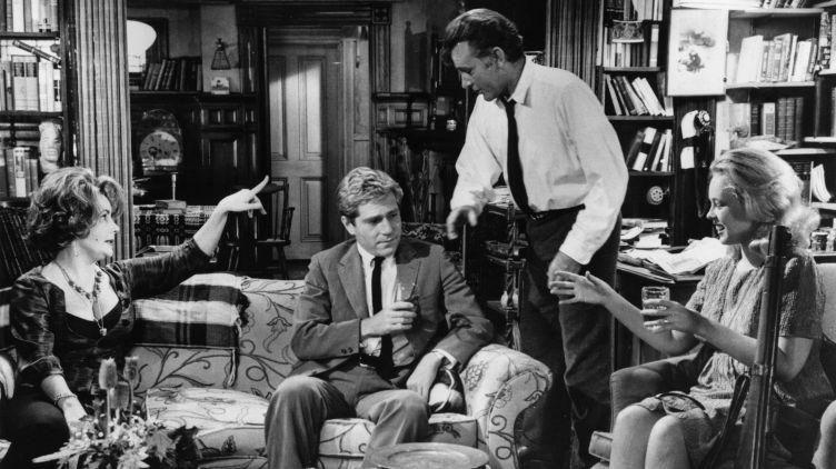 Elizabeth Taylor, (from left) George Segal, Richard Burton and Sandy Dennis starred in the 1966 film adaptation of Edward Albee