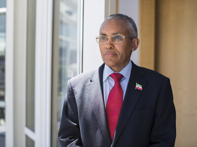 """""""The only thing that's missing is the sovereign recognition,"""" says Saad Ali Shire, foreign minister of Somaliland.  Shuyao Chen/NPR"""