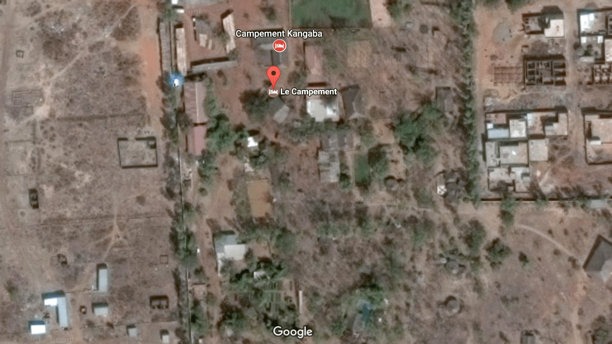 A satellite view of Le Campement resort in Dougourakoro, just east of Mali