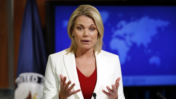 State Department spokeswoman Heather Nauert speaks during a briefing at the State Department in Washington, on Wednesday.