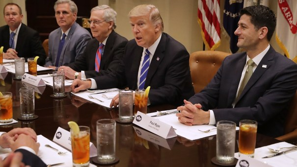 President Trump meets with Senate Majority Leader Mitch McConnell and House Speaker Paul Ryan during a budget discussion in March.