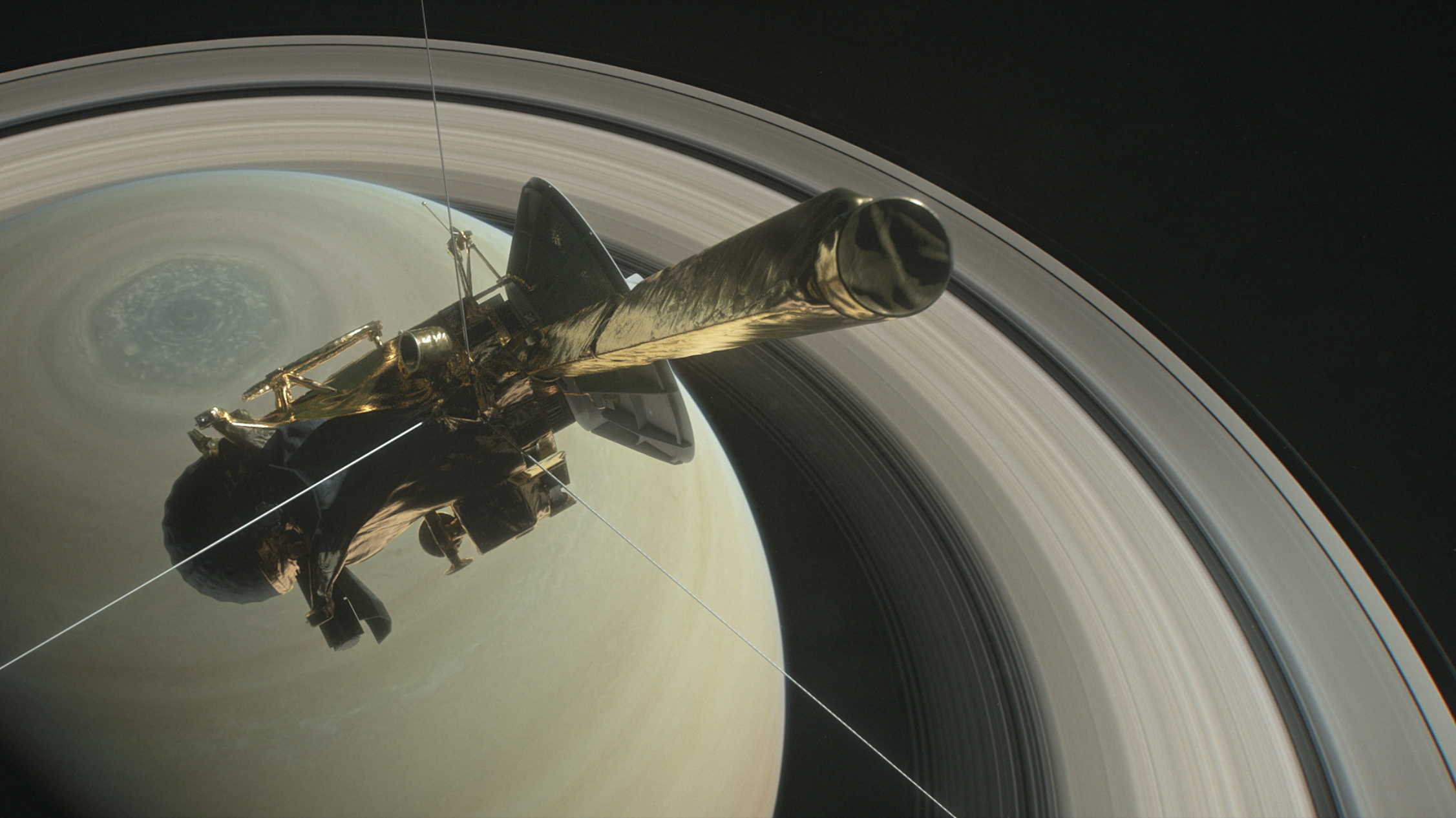 Still from a computer-animated film depicting Cassini