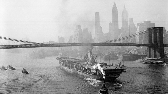 The USS Franklin D. Roosevelt sails down the East River after leaving the Brooklyn Navy Yard in 1945. Jennifer Egan