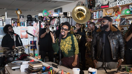 The Roots featuring Bilal perform a Tiny Desk Concert on Oct. 19, 2017. (Claire Harbage/NPR)