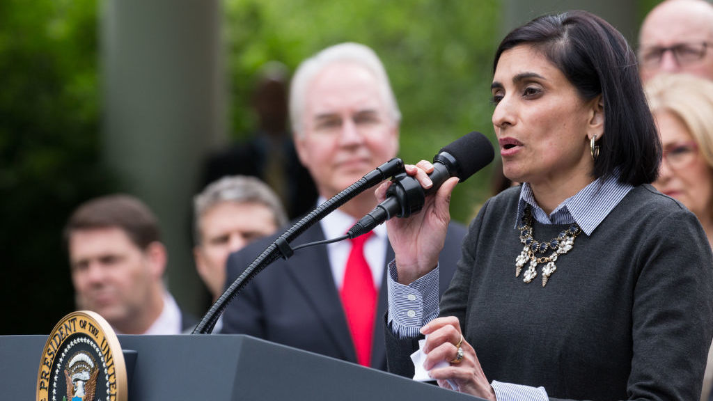 Seema Verma, administrator of the Centers for Medicare and Medicaid Services, at a White House press conference in May. More people moving off Medicaid, she says, would be a good outcome.