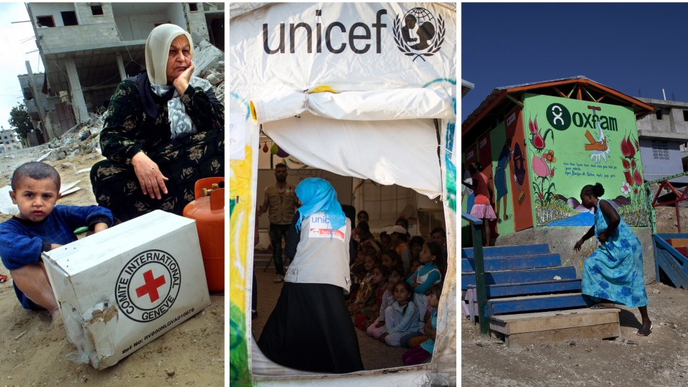 A Palestinian woman and her children receive supplies from the International Committee of the Red Cross at a refugee camp in Gaza; a latrine project in Haiti financed by Oxfam; a UNICEF tent at a refugee camp in Iraq.