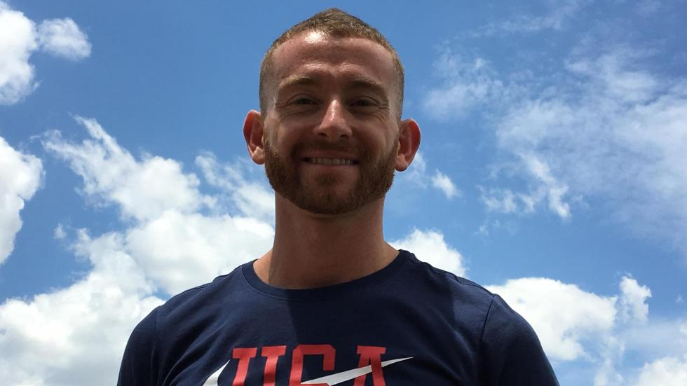 Aaron Yoder is training for the world championships for backward running, or retrorunning, in Bologne, Italy.