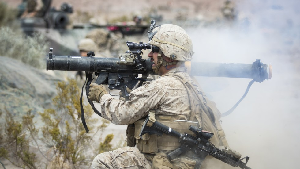 Heavy weapons like this shoulder-launched multipurpose assault weapon deliver a powerful blast to the shooter