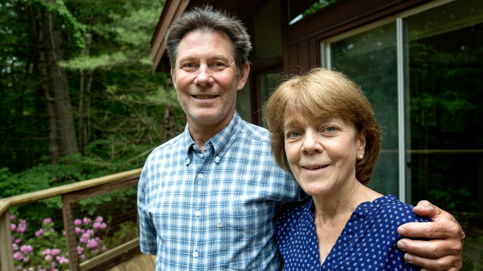 Bea and Doug Duncan outside their home in Natick, Mass. The coaching they got from the Community Reinforcement and Family Training program, they say, gave them tools to help their son Jeff stick to his recovery from drug use. He