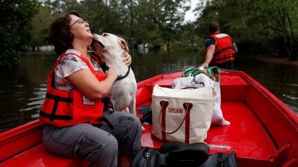 September 16: Susan Hedgpeth hugs her dog Cooper, as they go to higher ground via the United States Coast Guard in Lumberton, N.C.