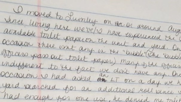 A letter from a female inmate at Perryville prison in Arizona indicating that toilet paper supplies are inadequate.