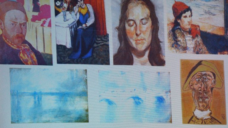 An image shows the paintings stolen from the Netherlands