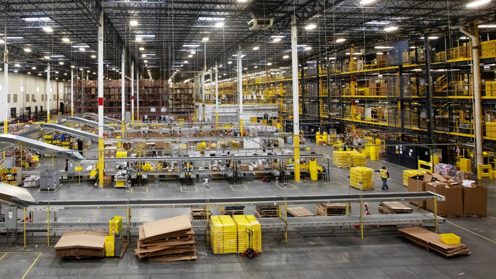 Workers at an Amazon fulfillment center in Robbinsville, N.J., were sickened on Wednesday after an automated machine punctured a can of bear repellent. The warehouse is seen here in June.