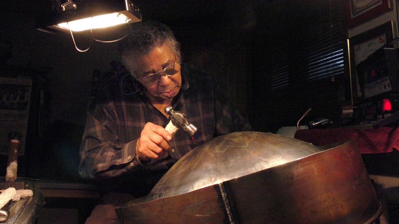 Ellie Mannette crafts a drum at his workshop in West Virginia in 2006.