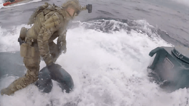 WATCH: U.S. Coast Guard Boards Suspected Narco-Sub In High-Speed Chase