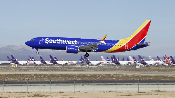 A Southwest Airlines Boeing 737 Max lands in Victorville, Calif., in March.