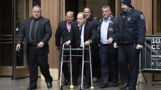 Harvey Weinstein leaves court following a hearing over allegations he violated bail conditions by mishandling his electronic ankle monitor this week in New York.