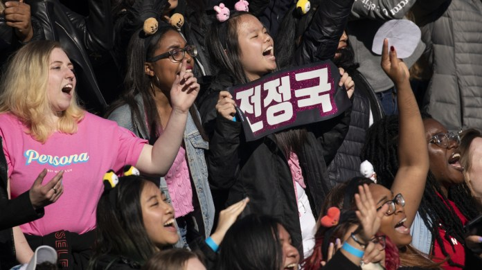Fans of K-pop in Central Park in New York on may 15, 2019.