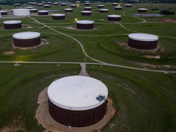 An aerial view of a crude oil storage facility is seen on May 5, 2020 in Cushing, Oklahoma.  (Photo by JOHANNES EISELE/AFP via Getty Images)