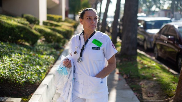Student nurse Gail Powers outside the College Medical Center in Long Beach, Calif.