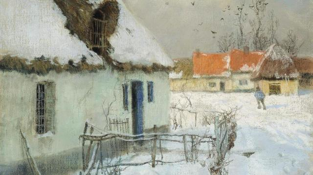 Frits Thaulow, Cottages in the Snow, 1891