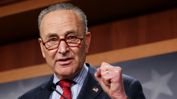 Senate Majority Leader Chuck Schumer, D-N.Y., speaks to the media on March 25.