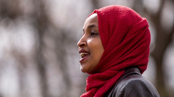Rep. Ilhan Omar, D-Minn., here at an April press conference, issued a clarification Thursday of comments she made that appeared to equate the United States and Israel with Hamas and the Taliban.