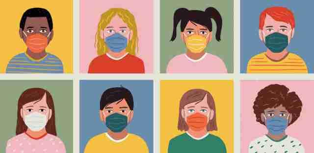 Diverse set of child portrait avatars wearing masks.