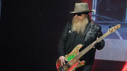 Dusty Hill of ZZ Top, performing in Austin, Tex. in 2019. Hill has died at age 72.