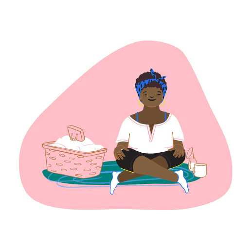 Illustration of a woman in the early stages of motherhood. She sits cross-legged on the floor with a basket of laundry next to her on one side and pumped milk and a cup of coffee on the other. On top of the laundry is a phone propped up, playing a meditation.