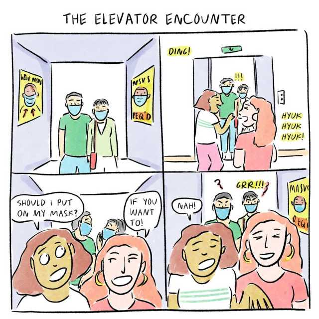 A comic about wearing masks on elevators.