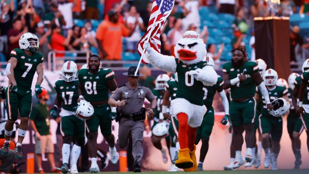 In the absence of a photo of the cat itself, please accept this photo of the Miami mascot leading the team onto the field before the game against Appalachian State.