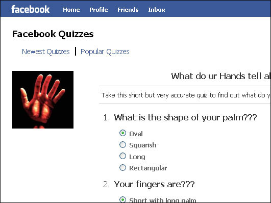A Facebook quiz called