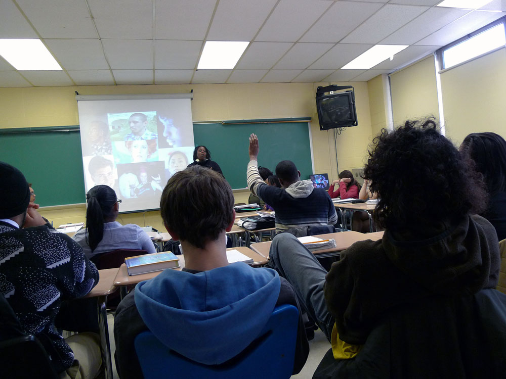Students in Melissa Cooper's sociology classroom.