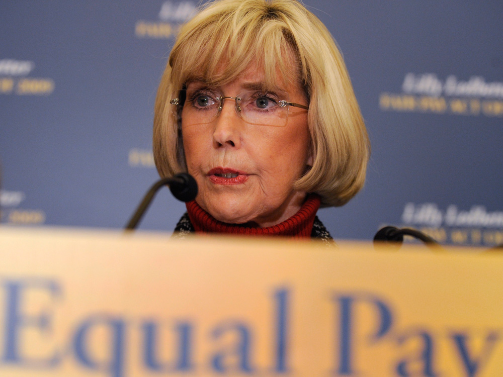 Lilly Ledbetter at a news conference on equal pay
