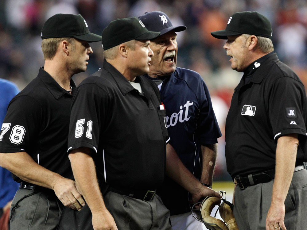Detroit Tigers manager Jim Leyland yells at umpires after a disputed call.