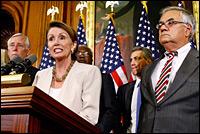 Speaker of the House Nancy Pelosi talks to reporters