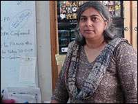 Amber Alibhai stands in her Karachi office.